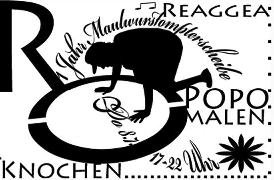 Diaprojektion von Regensburgs erstem Schattentheater gegen das Hochhaus über die Mc Donald Werbung